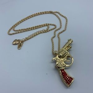 New red and gold crystal pistol pendant necklace